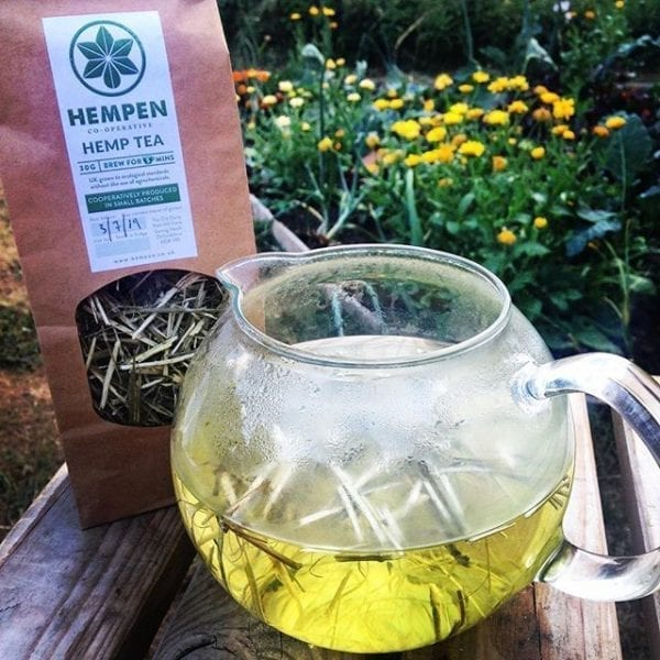 Organic Hemp Stem Tea brewing