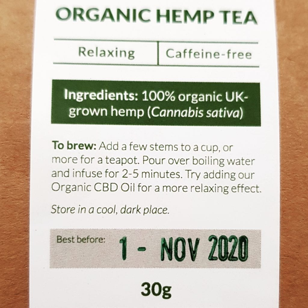 Hemp Tea Best Before 01 Nov 2020