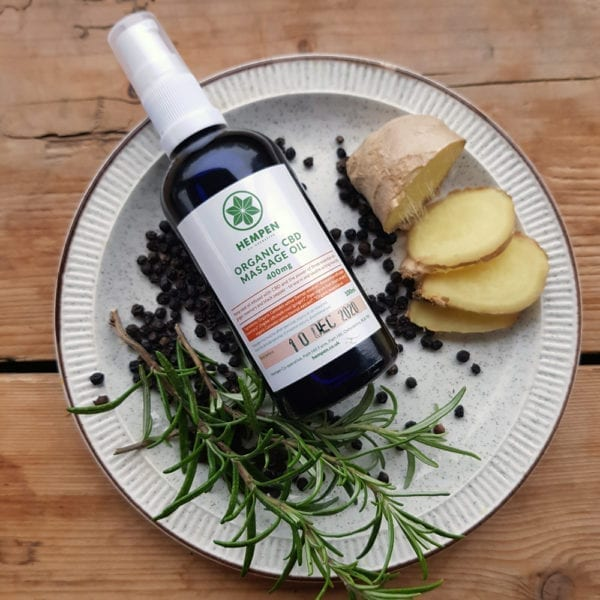 CBD Massage Oil with ginger, black pepper and rosemary